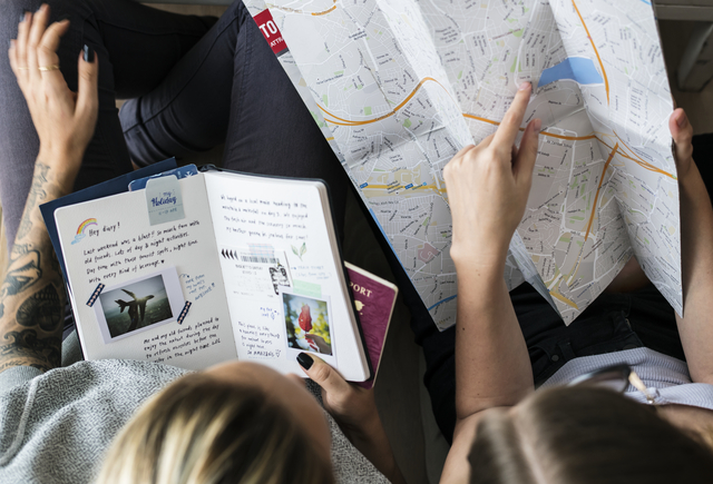 Travel bloggers planning for a trip
